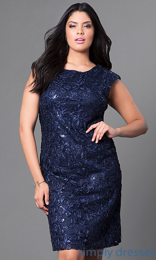 804f911a Image of sequined short plus-size party dress with cap sleeves. Style: SF
