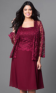 Image of plus-size short party dress with lace top and jacket. Style: SF-8485P Detail Image 5