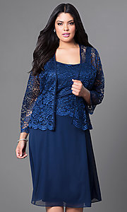 Image of plus-size short party dress with lace top and jacket. Style: SF-8485P Front Image