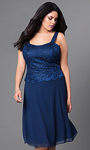 Image of plus-size short party dress with lace top and jacket. Style: SF-8485P Detail Image 1