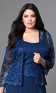 Image of plus-size short party dress with lace top and jacket. Style: SF-8485P Detail Image 3