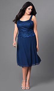 Image of plus-size short party dress with lace top and jacket. Style: SF-8485P Detail Image 4