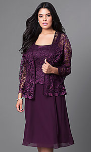 Image of plus-size short party dress with lace top and jacket. Style: SF-8485P Detail Image 7