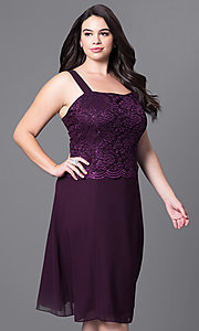 Image of plus-size short party dress with lace top and jacket. Style: SF-8485P Detail Image 8