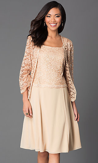 Plus-Size Short Party Dress with Lace Top and Jacket
