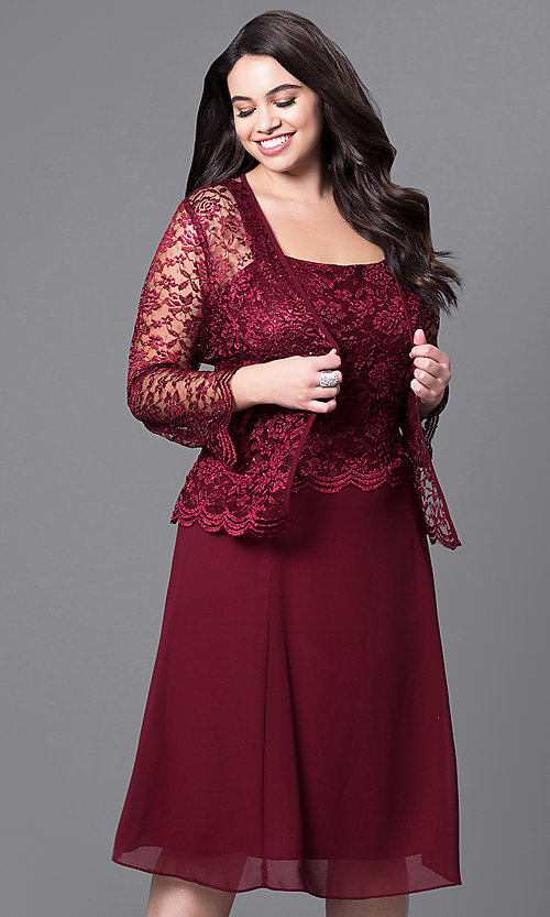 Image of plus-size short party dress with lace top and jacket. Style: SF-8485P Detail Image 6