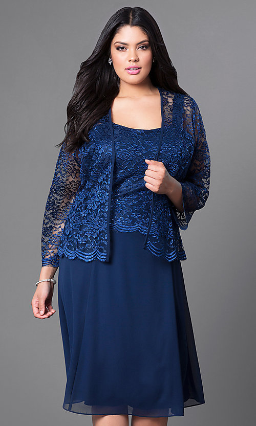 ae5b93339db Image of plus-size short party dress with lace top and jacket. Style