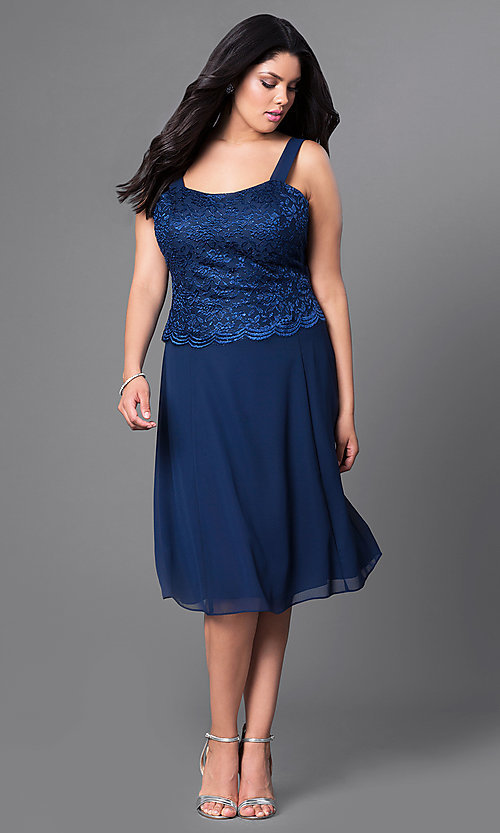 e0dfb2d04862 Image of plus-size short party dress with lace top and jacket. Style: