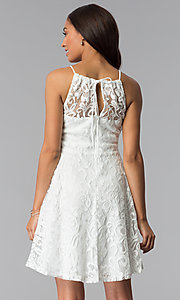 Image of high-neck short lace wedding-guest party dress. Style: SF-8833 Back Image