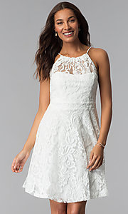 Image of high-neck short lace wedding-guest party dress. Style: SF-8833 Detail Image 1