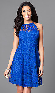 Image of high-neck short lace wedding-guest party dress. Style: SF-8833 Detail Image 2