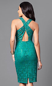 Image of sequin-accented lace knee-length party dress. Style: MB-7094 Back Image