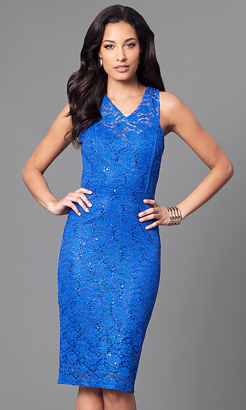 Image of sequin-accented lace knee-length party dress. Style: MB-7094 Front Image