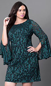 Image of short green lace plus-size party dress with sleeves. Style: JU-TI-897574 Front Image