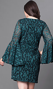 Image of short green lace plus-size party dress with sleeves. Style: JU-TI-897574 Back Image
