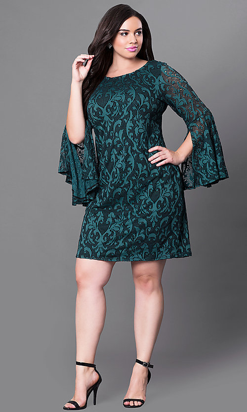 Image of short green lace plus-size party dress with sleeves. Style: JU-TI-897574 Detail Image 1