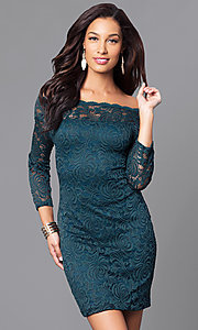 Image of short lace holiday party dress with long sleeves. Style: AS-i558029q3 Detail Image 1