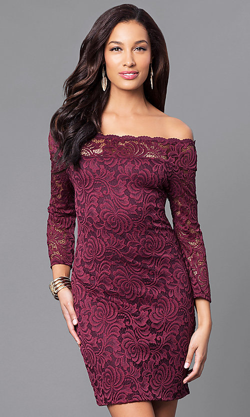 Image of short lace holiday party dress with long sleeves. Style: AS-i558029q3 Front Image