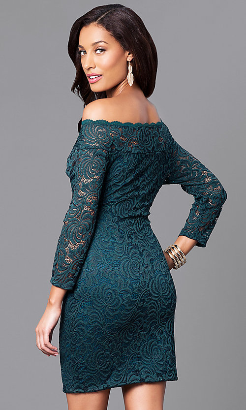 Image of short lace holiday party dress with long sleeves. Style: AS-i558029q3 Back Image