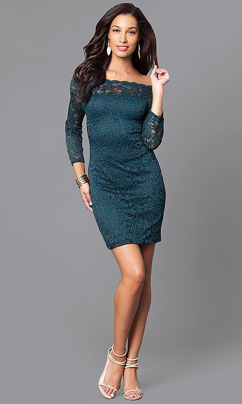Image of short lace holiday party dress with long sleeves. Style: AS-i558029q3 Detail Image 2