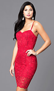 Shop short holiday party dress with sequined lace. Style: AS-i567329N4 Front Image