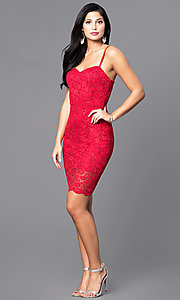 Shop short holiday party dress with sequined lace. Style: AS-i567329N4 Detail Image 1