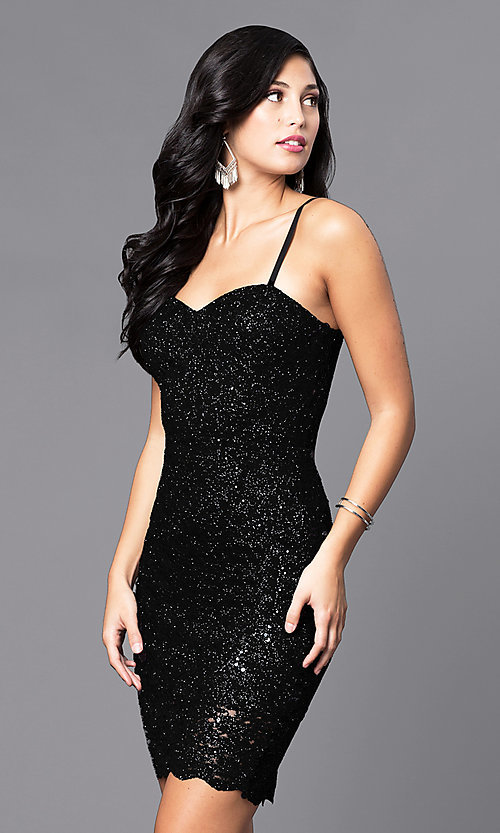 Shop short holiday party dress with sequined lace. Style: AS-i567329N4 Detail Image 3