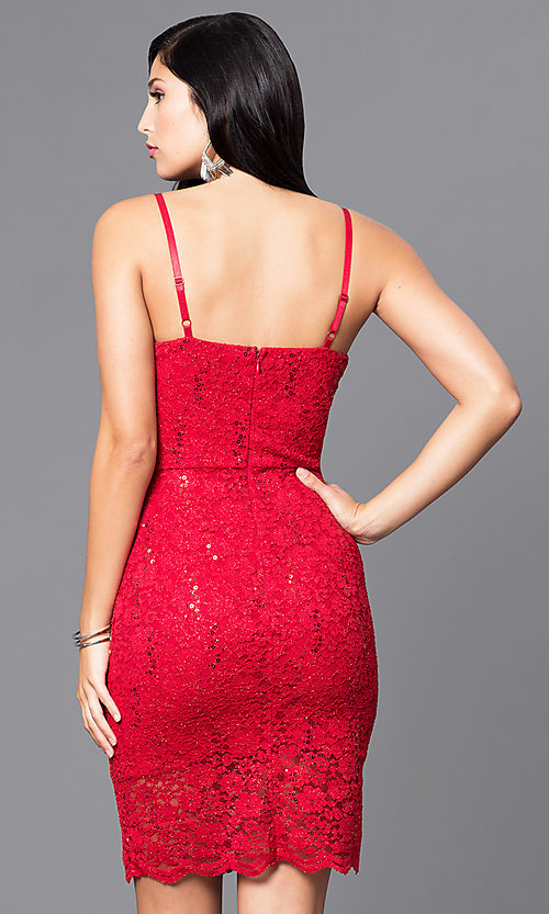 Shop short holiday party dress with sequined lace. Style: AS-i567329N4 Back Image
