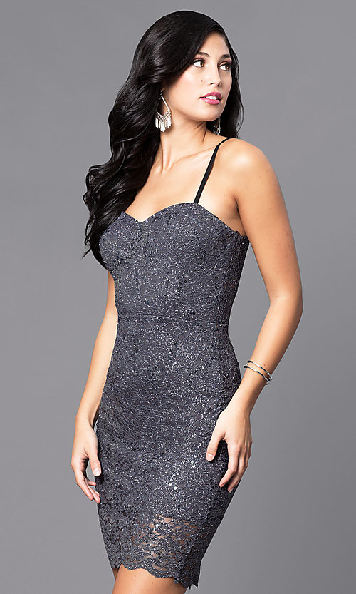 Shop short holiday party dress with sequined lace. Style: AS-i567329N4 Detail Image 2