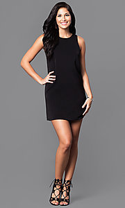 Image of short pink casual cruise party dress with cut outs.  Style: VJ-VD31612p Detail Image 3
