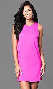 Image of short pink casual cruise party dress with cut outs.  Style: VJ-VD31612p Front Image