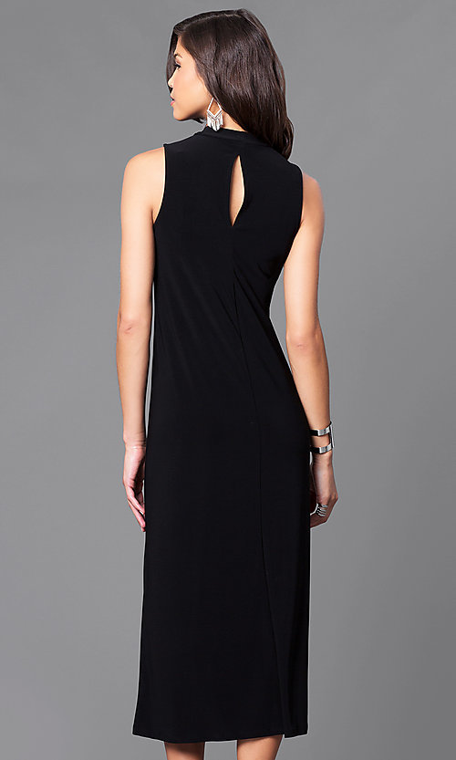 Image of jersey high-neck sleeveless tea-length party dress.  Style: JU-TI-88461 Back Image