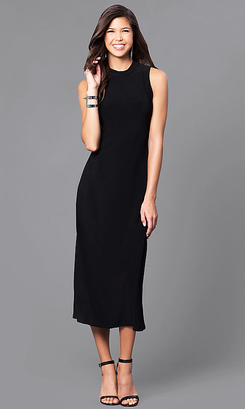 Image of jersey high-neck sleeveless tea-length party dress.  Style: JU-TI-88461 Front Image