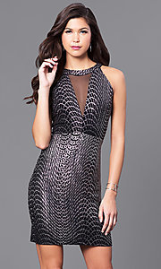 Image of metallic-jersey short black cocktail party dress. Style: JU-49362 Front Image