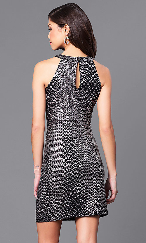 Image of metallic-jersey short black cocktail party dress. Style: JU-49362 Back Image