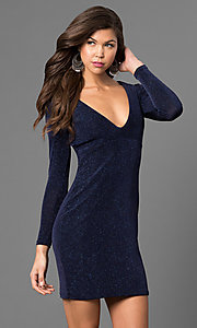 Image of short metallic navy cocktail party dress with sleeves. Style: JU-49411 Front Image