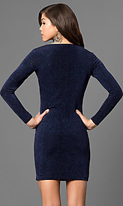 Image of short metallic navy cocktail party dress with sleeves. Style: JU-49411 Back Image
