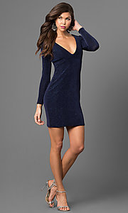 Image of short metallic navy cocktail party dress with sleeves. Style: JU-49411 Detail Image 1