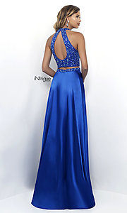 Image of sapphire blue two-piece long satin prom dress. Style: BL-IN-297 Back Image