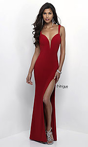 Image of long sweetheart formal dress with open back. Style: BL-IN-299 Front Image