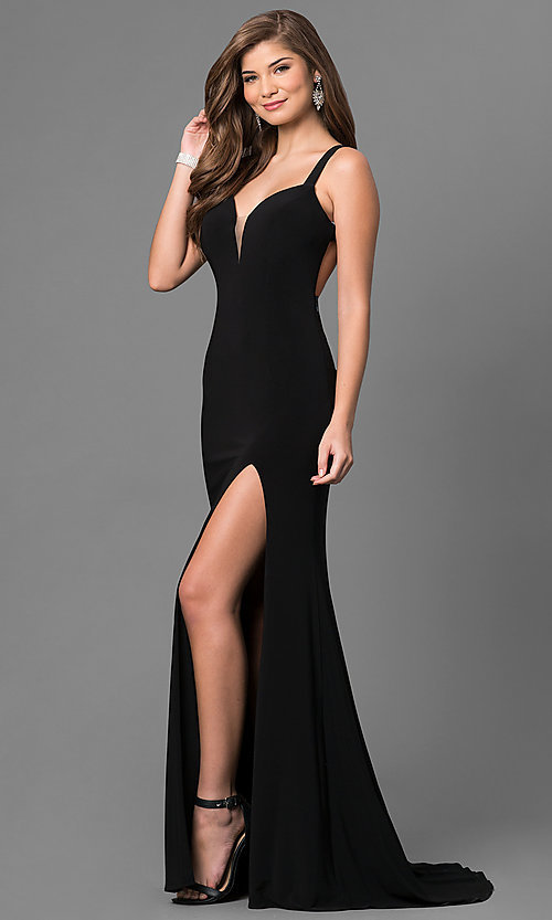Image of long sweetheart formal dress with open back. Style: BL-IN-299 Detail Image 2