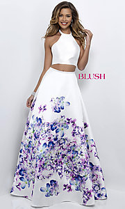 Image of two-piece off-white long prom dress with floral print. Style: BL-11218 Detail Image 1
