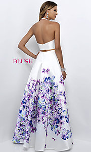 Image of two-piece off-white long prom dress with floral print. Style: BL-11218 Back Image
