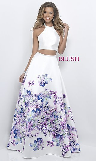 Two-Piece Off-White Long Prom Dress with Floral Print