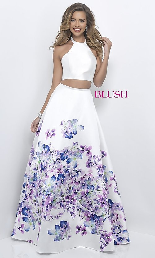 Image of two-piece off-white long prom dress with floral print. Style: BL-11218 Front Image