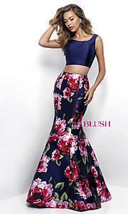 Image of Blush two-piece long prom dress with floral print. Style: BL-11233 Front Image