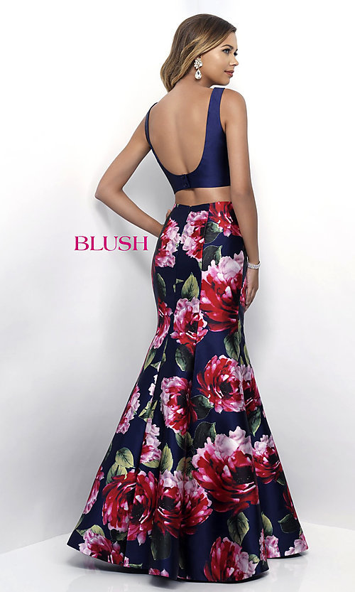 Image of Blush two-piece long prom dress with floral print. Style: BL-11233 Back Image