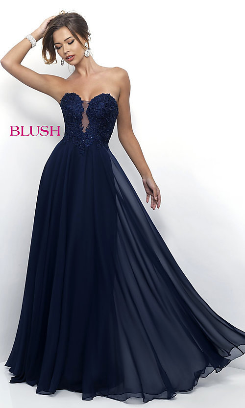 Image of long chiffon prom gown with lace sweetheart bodice. Style: BL-11234 Front Image