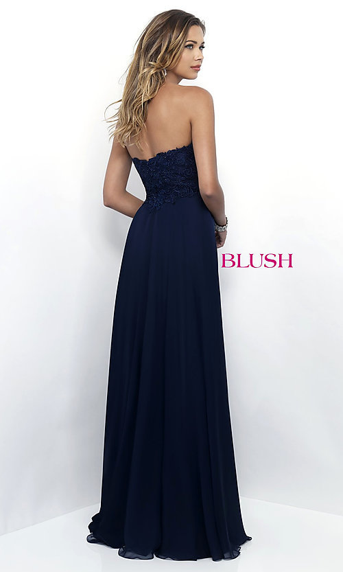Image of long chiffon prom gown with lace sweetheart bodice. Style: BL-11234 Back Image