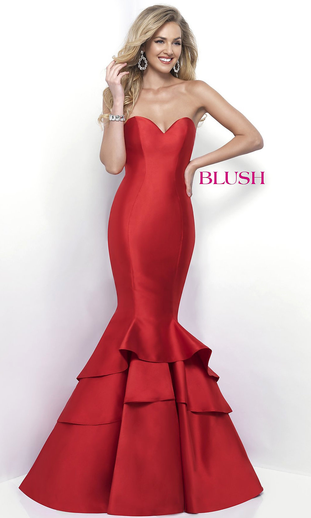 Long Formal Mermaid Strapless Blush Prom Dress